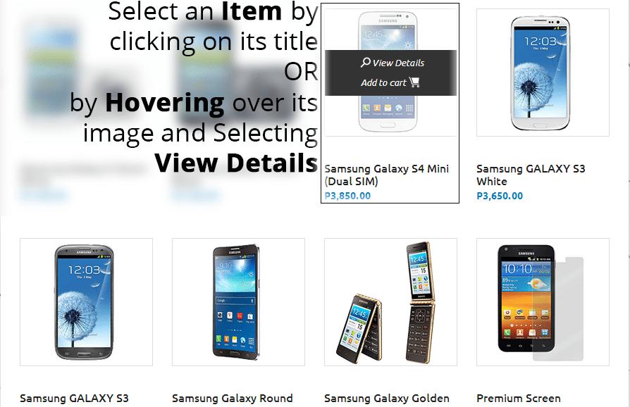 step 2 Select an item copy