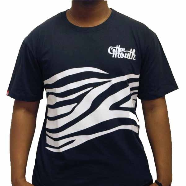 4fac9032a2b Buy online Cotton Mouth Black with White Stripy T-shirt low price ...