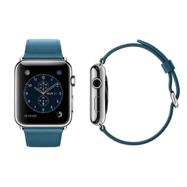 hot sale online 96ca6 a3354 Apple Watch 42mm Stainless Steel Case with Marine Blue Classic Buckle