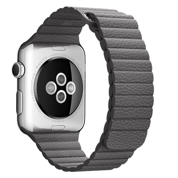 Apple Watch 42mm Stainless Steel Case with Storm Grey Leather Loop - MMFY2MY / A (Large, Apple Warranty)