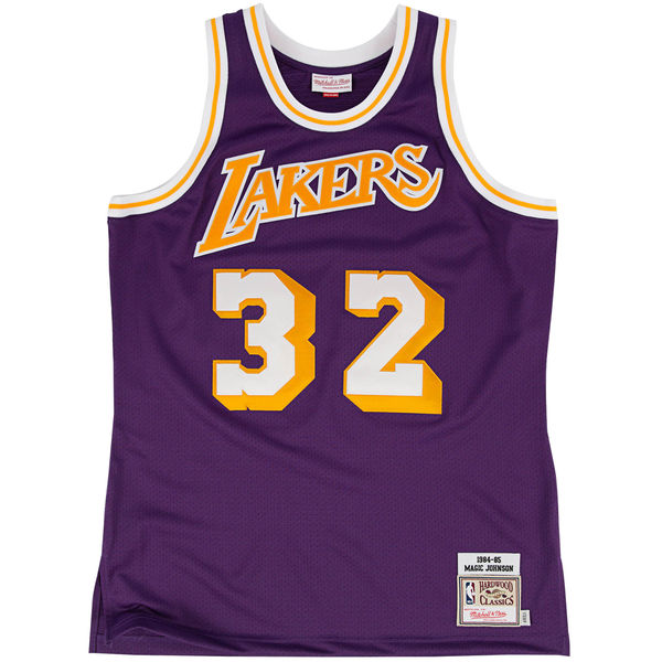 43b40f86e2e ... Mitchell   Ness Los Angeles Lakers Magic Johnson 1984-85 Hardwood  Classics Authentic Road Jersey ...