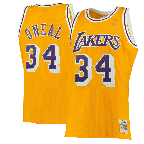 Men s Los Angeles Lakers Shaquille O Neal Mitchell   Ness Gold 1996-97  Hardwood 35c7c819c