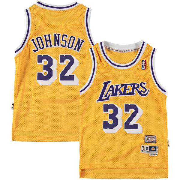 e3439fa0f6d ... Youth Los Angeles Lakers Magic Johnson Gold Fashion Hardwood Classics Swingman  Jersey ...
