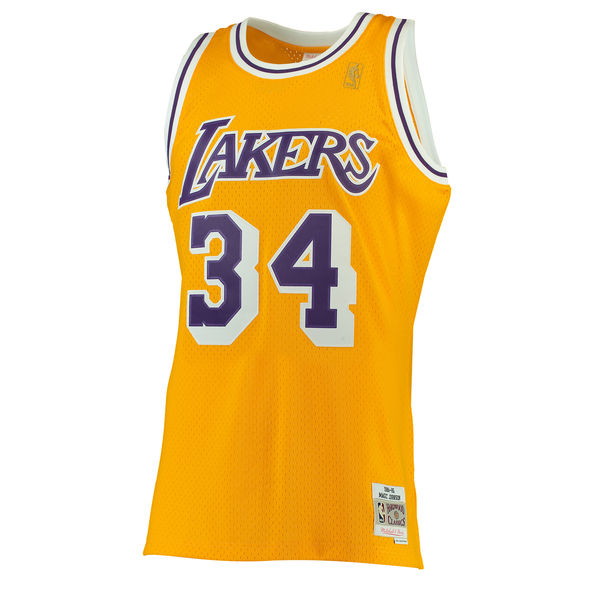 7539cc5dc6f8 ... Men s Los Angeles Lakers Shaquille O Neal Mitchell   Ness Gold 1996-97  Hardwood ...