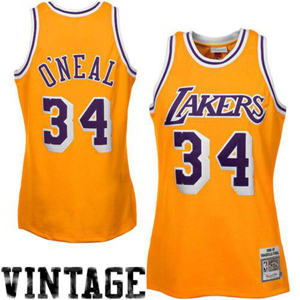 Mitchell   Ness Shaquille O Neal Los Angeles Lakers 1996-97 Throwback  Authentic Home f42960ff2