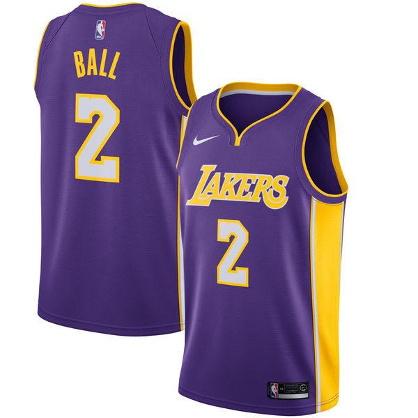 6fdfc8d2 Men's Los Angeles Lakers Lonzo Ball Nike Purple Swingman Jersey Statement  Edition