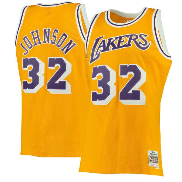 b1a2dd7607f Men s Los Angeles Lakers Magic Johnson Mitchell   Ness Gold 1984-85  Hardwood Classics Swingman