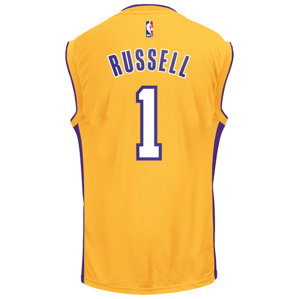 2d0375e99fd Men's Los Angeles Lakers D'Angelo Russell adidas Gold Replica Jersey. Men's Los  Angeles Lakers D'Angelo Russell adidas Gold Replica Jersey