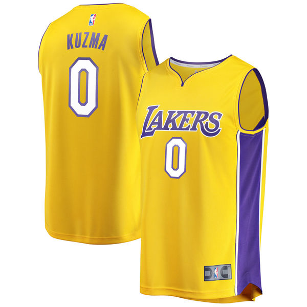 ... Men s Los Angeles Lakers Kyle Kuzma Fanatics Branded Yellow Fast Break  Replica Player Jersey - Icon ... a0a5ee586