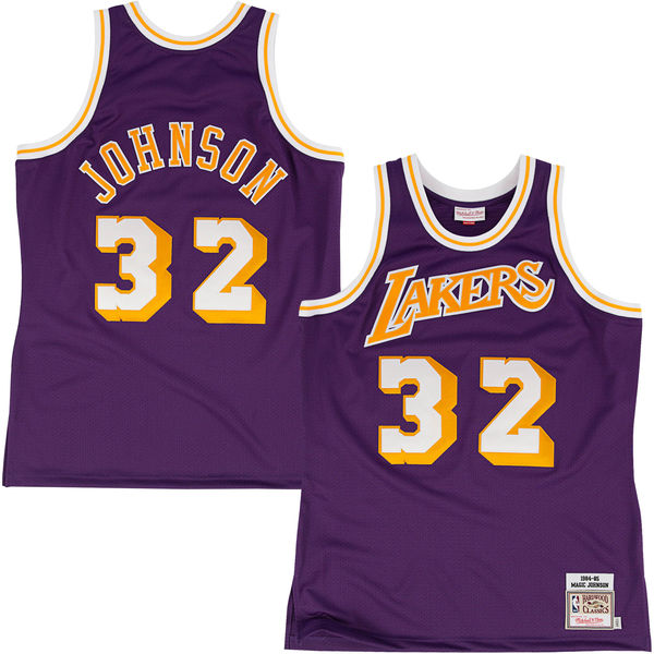 6c0a3e3920e Mitchell & Ness Los Angeles Lakers Magic Johnson 1984-85 Hardwood Classics  Authentic Road Jersey