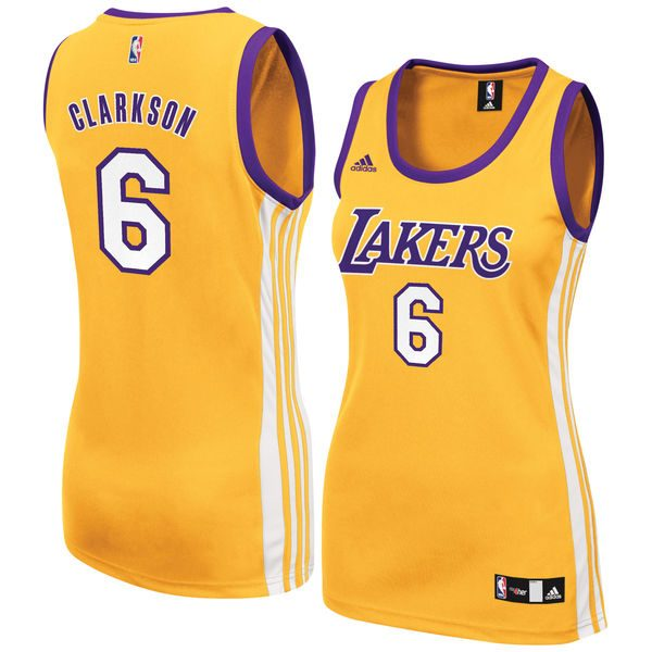 e6019636177 Women's Los Angeles Lakers Jordan Clarkson adidas Gold Home Replica Jersey