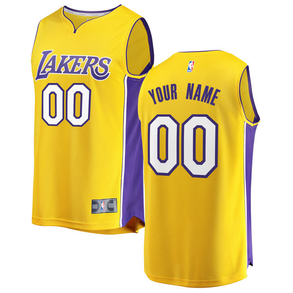 low priced 1d42e 4c982 Men's Los Angeles Lakers Fanatics Branded Gold Fast Break Custom Replica  Jersey – Icon Edition