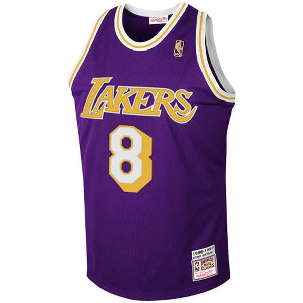 eac28d16bb08 ... Mitchell   Ness Los Angeles Lakers  8 Kobe Bryant Purple 1997 Authentic Hardwood  Classics Road ...