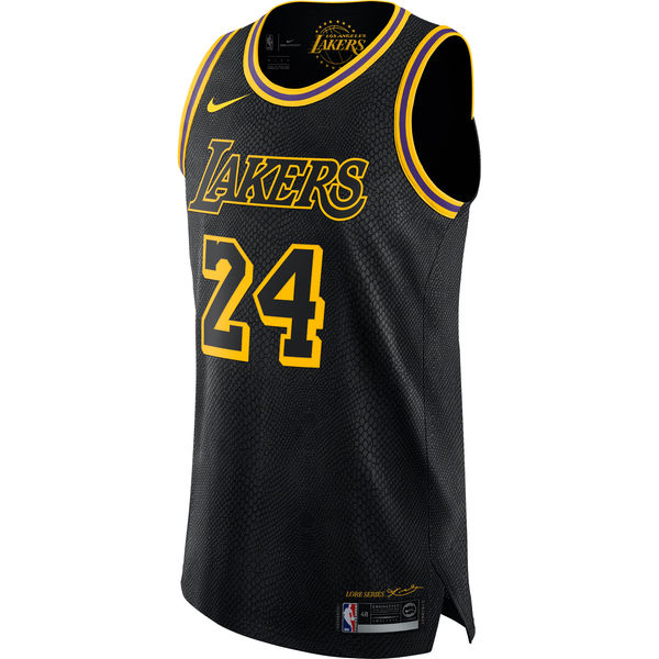 25ec521271d ... Men s Los Angeles Lakers 24 Kobe Bryant Nike Black Authentic Jersey – City  Edition ...