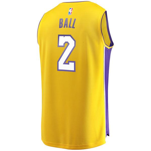 430d642f33e ... Men s Los Angeles Lakers Lonzo Ball Fanatics Branded Yellow Fast Break  Replica Jersey - Icon Edition ...