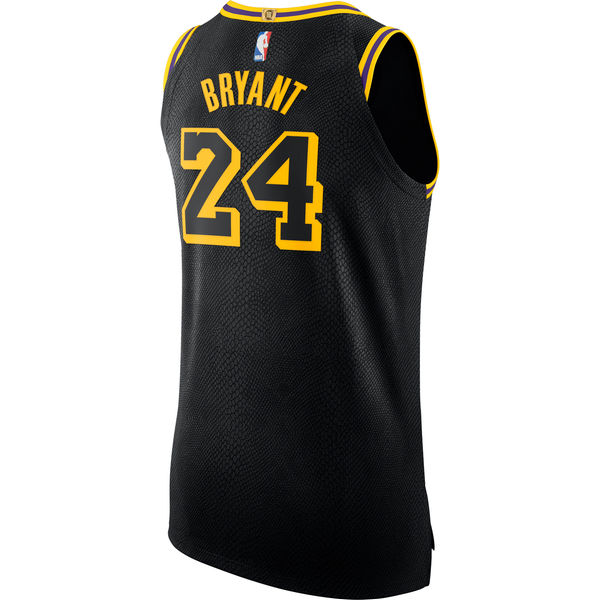 b9132a20deb4 ... Men s Los Angeles Lakers 24 Kobe Bryant Nike Black Authentic Jersey –  City Edition