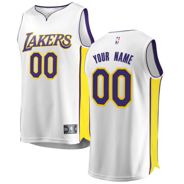 1968b8a01 ... Men s Los Angeles Lakers Fanatics Branded White Fast Break Custom  Replica Jersey - Association Edition ...