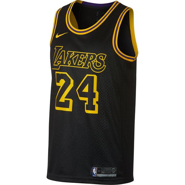 57b2b837f87 ... Men s Los Angeles Lakers 24 Kobe Bryant Nike Black Swingman Jersey – City  Edition ...