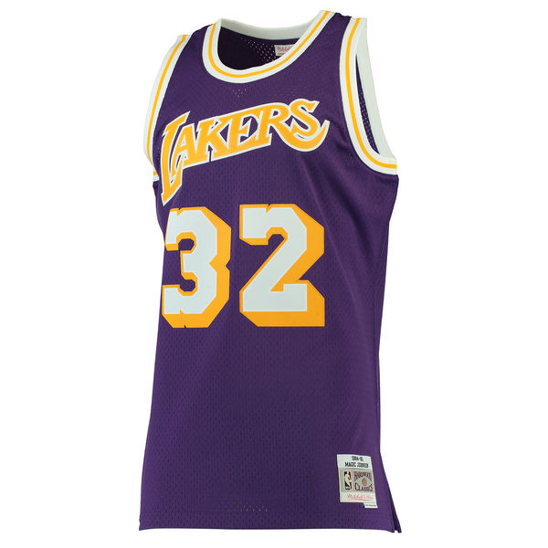 a827b361f ... Men s Los Angeles Lakers Magic Johnson Mitchell   Ness Purple 1984-85  Hardwood Classics Swingman ...