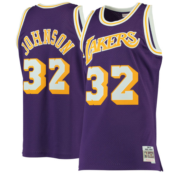 11b1ce7f265 Men's Los Angeles Lakers Magic Johnson Mitchell & Ness Purple 1984-85  Hardwood Classics Swingman