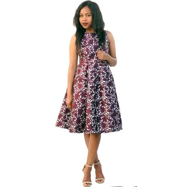 Purple Sleeveless Vintage Dress