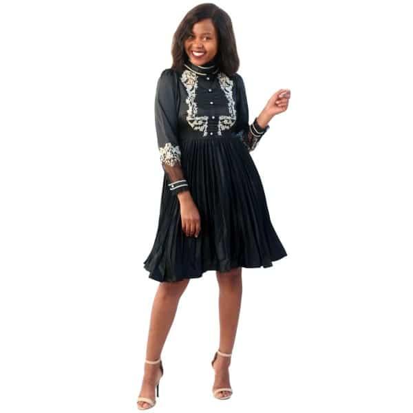 Black Pleated Vintage Dress