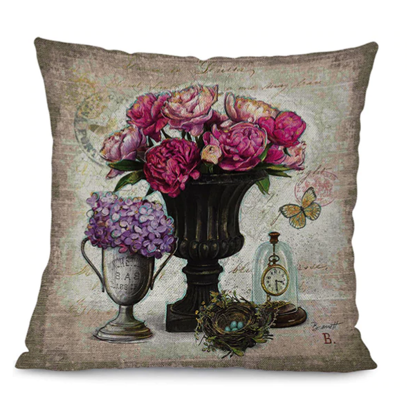 225 & Linen Blend Vintage Flower Vase Scatter Cushion Cover Type B