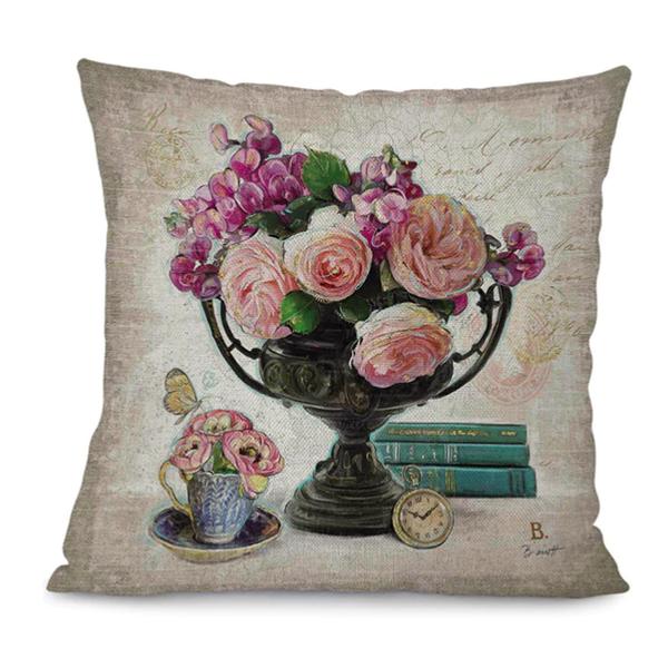 225 & Linen Blend Vintage Flower Vase Scatter Cushion Cover Type D