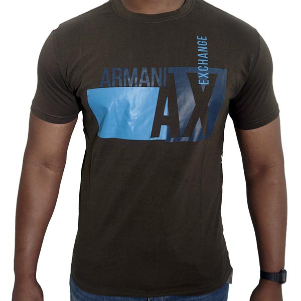 63bb56afcff Armani Exchange Black Graphic Tee with Blue