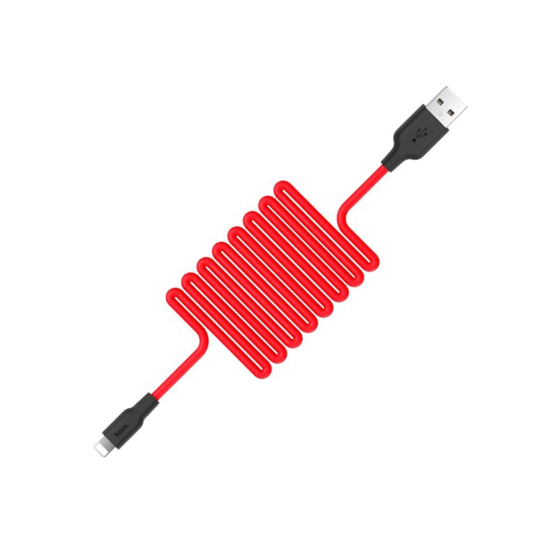 x21 silicone lightning charging cable red spring